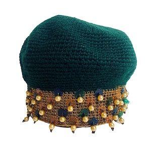 Vntg 60s Flapper Crochet Pearl Beaded Cap Saks M/L